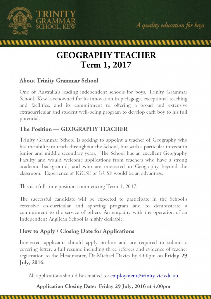 Geography Teacher for 2017