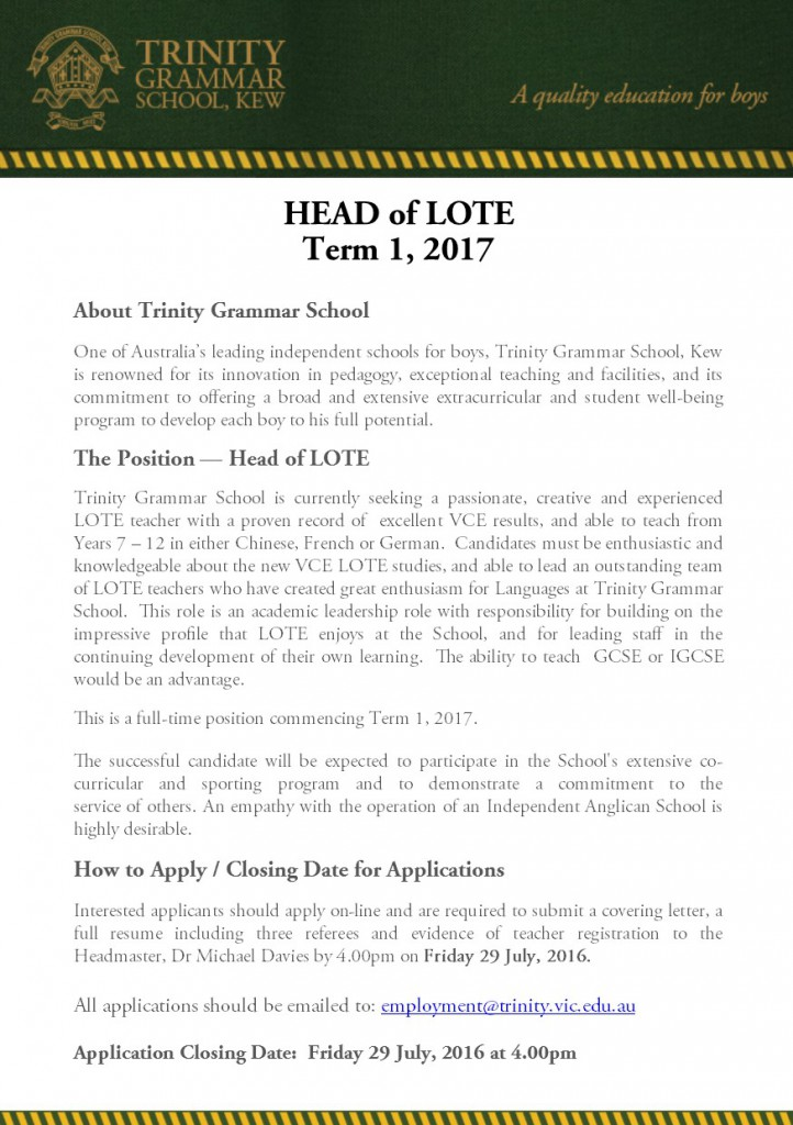 Head of LOTE 2017
