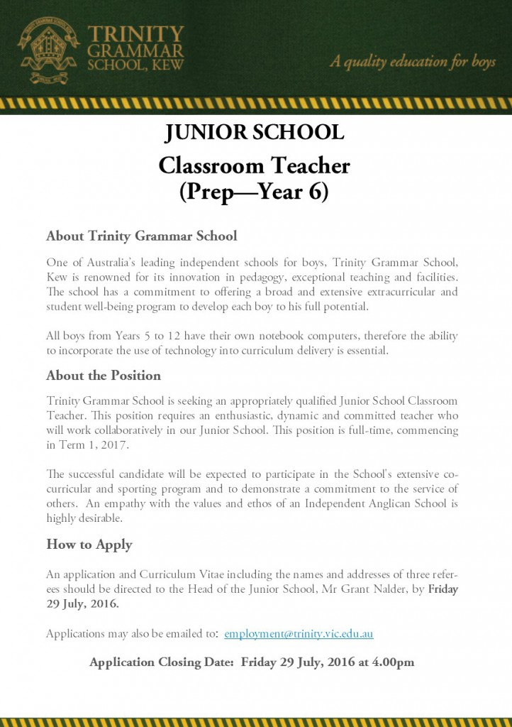JS Classroom Teacher Prep to Year 6 Full-time Advertisement July 2016