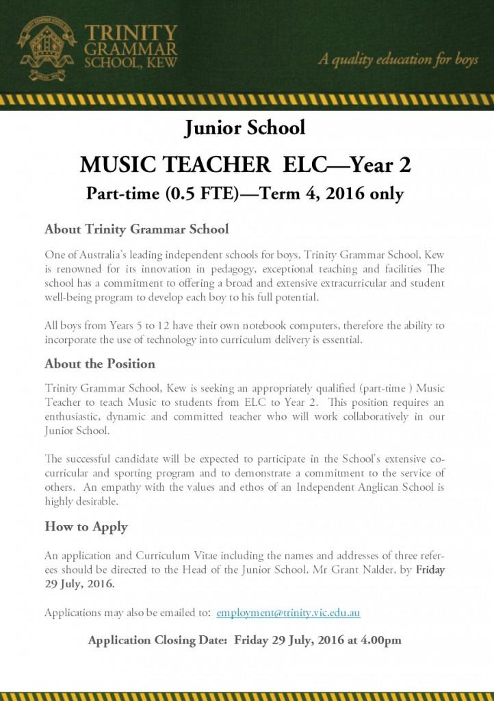JS Music Teacher Part Time